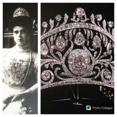 The fabulous diamond belle epoque tiara, 1902, by Cartier. Given by her mother, when Grand Duchess Elena Vladimironva of Russia married Prince Nicolas of Greece. A massive kokoshnic with some of the largest diamonds ever seen in a tiara; featuring foliate scrolls encircling a large central diamond cluster; over which is a diamond row from which hangs seven large pear-shaped diamonds, with even more diamonds on the top row.