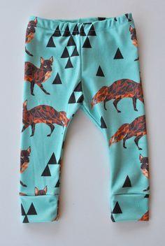Organic tribal fox Leggings children leggings by ThisFreckledGirl