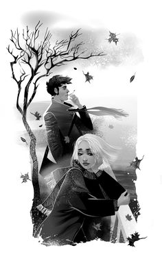 Illustration by Zzanthia. Such detail in the woman's face and I love the greyscale technique! #autumn #couple #black and white