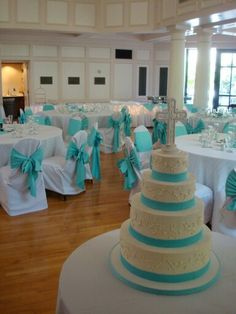 Teal wedding decor. Love the teal ties on the chairs!