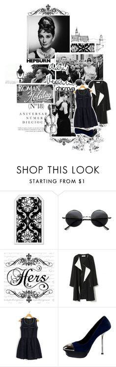 """""""Audrey Hepburn CHICNOVA 16."""" by kariika ❤ liked on Polyvore featuring Andrea, Sinclair, Tiffany & Co., Retrò, mark., retro, round sunglasses, suede pumps, black and white and metal belts"""