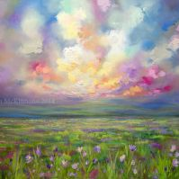 Colourful Prairie and Big Sky Abstract Landscape Painting by Canadian Western Artist Painter Melissa McKinnon