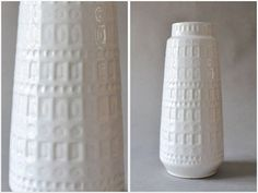 Vintage vase white West German pottery 1970 Scheurich (so awesome. maybe can convince seller to ship fast?)
