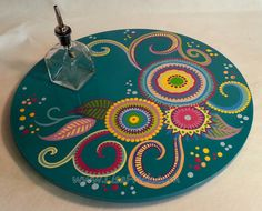 Lazy+Susan+4+Hand+Painted+18+Diameter+Swirls+and+by+LisaFrick,+$160.00