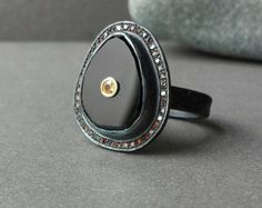 Fine Jewelry Ring In Oxidized Sterling With Black Spinel, Cinnamon Diamonds And Fraternal Set Yellow Sapphire