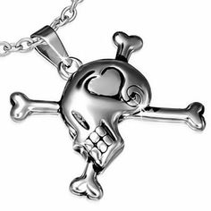 Stainless steel 2 tone love heart crossbones skull biker pendant with back engraved one piece with chain www.mystic-steel,.com