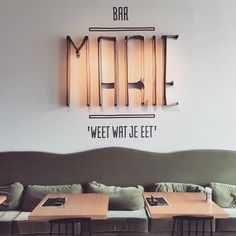 Roadtrip Belgium has started! First stop: Marie in Mechelen, Sanoma's public canteen Bar Interior Design, Restaurant Interior Design, Signage Design, Cafe Interior, Cafe Design, Store Design, Interior And Exterior, Commercial Design, Commercial Interiors