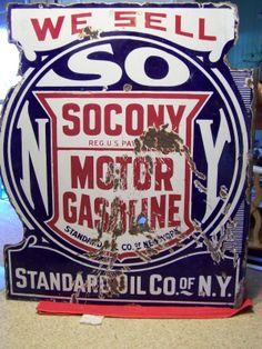 Standard Oil Antique Porcelain Sign (Old Vintage 1930 Double Sided Gas Advertising Sign, Socony Motor Gasoline, New York)