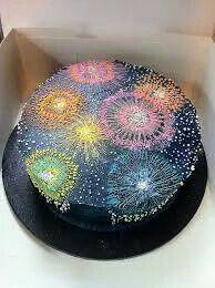 Unusual firework effect cake