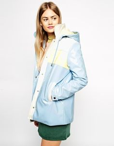 This is the cutest rain mac ever. Baby blue and yellow, perfect! http://asos.to/1uz7Qle