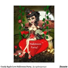 Candy Apple Love Halloween Party Double sided Invitation. . #Halloween #HalloweenParty #HalloweenInvitation #Invitation #zazzle #steampunk #goth