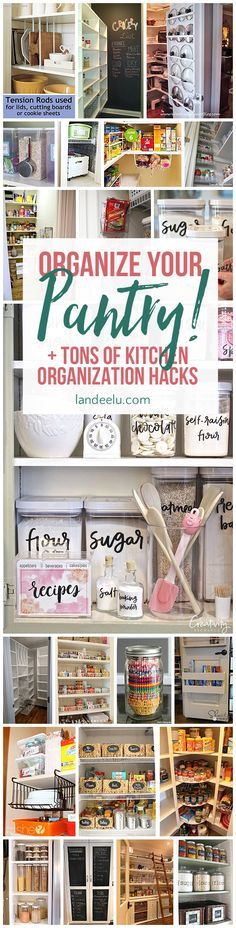 I love the pot LIDS rack on the back of the pantry door idea! Love these ideas for kitchen organization. that pot lids one is genius! Organizing Hacks, Organizing Your Home, Organising, Kitchen Hacks, Kitchen Storage, Kitchen Ideas, Kitchen Pantry, Pantry Storage, Kitchen Pictures
