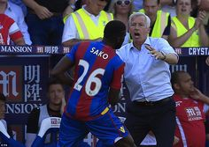 Aug. 22nd. 2015: the Eagles manager Alan Pardew reacts after Bakary Sako's late winner against Aston Villa returned his side to wining ways after the defeat by Arsenal the previous week.