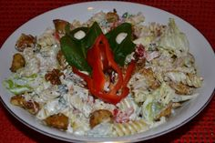 Tésztasaláta Grains, Spaghetti, Rice, Pasta, Salad, Dishes, Chicken, Meat, Ethnic Recipes