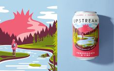 Brand creation, naming and illustration by Leeds-based branding agency Robot Food for refreshingly grown-up, aspirational drinks brand Upstream. Packaging Box Design, Beer Packaging, Beverage Packaging, Brand Packaging, Label Design, Package Design, Fruit Packaging, Perfume Packaging, Packaging Ideas