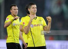Fussball, Saison 2013-2014, 1. Bundesliga, 3. Spieltag, Borussia Dortmund - SV Werder Bremen, Jubel Robert Lewandowski (Borussia Dortmund), hinten links Kevin Grosskreutz