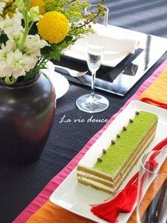 Gâteau du thé vert saupoudré