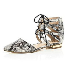 b523cce19388 Beige snake ghillie lace up ankle flats