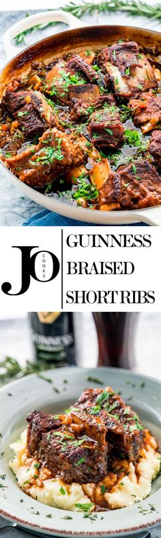 You Have Meals Poisoning More Normally Than You're Thinking That These Melt-In-Your-Mouth Guinness Braised Short Ribs Are Hearty, Super Comforting And Incredibly Delicious, Slowly Cooked In Stout, Beef Broth And Lots Of Fresh Herbs. Irish Recipes, Pork Recipes, Cooker Recipes, Irish Meals, Beef Dishes, Food Dishes, Food Food, Braised Short Ribs, Beef Ribs