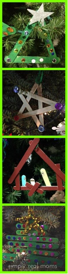DIY Craft stick ornaments for kids! Great last minute crafts and gifts for relatives