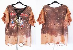 Iron Maiden Bleached distressed lace up shirts dress or top