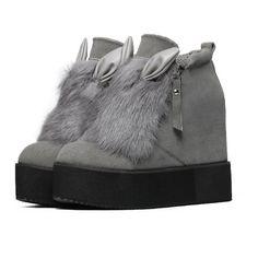 c1c926503820e3 Mode femme hiver bottes plate forme chaussures cheville bottes Lapin  oreilles bottes avec fourrure plate forme