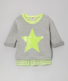 Take a look at this Neon Yellow Stripe Tank & Heather Gray Star Crop Top on zulily today!