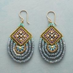 """BEADS OF BEAUTY EARRINGS Item No. 72646$348.00 Swarovski crystals spark this stunning pair of earrings by Miguel Ases, surrounded by Japanese Miyuki beads and American crystals. Exclusive. Handcrafted in USA; 14kt gold filled French wires. 2-1/2""""L."""
