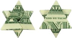 Fold a Money Origami Star from a Dollar Bill: Learn how to fold a money origami star (star of David) from a dollar bill. Our detailed photo and video instructions will make learning this moneygami easy! Origami Love Heart, Origami Star Box, Origami Fish, Origami Art, Origami Bookmark, Origami Boxes, Origami Flowers, Origami Ideas, Origami Jewelry