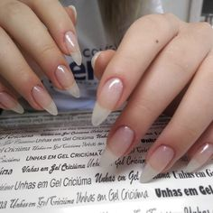 Want to know how to do gel nails at home? Learn the fundamentals with our DIY tutorial that will guide you step by step to professional salon quality nails. Almond Acrylic Nails, Cute Acrylic Nails, Cute Nails, Pretty Nails, My Nails, Long Natural Nails, Long Nails, Natural Almond Nails, Long Round Nails
