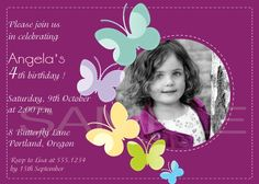 Butterflies Birthday Party Invitations by kool27 on Etsy