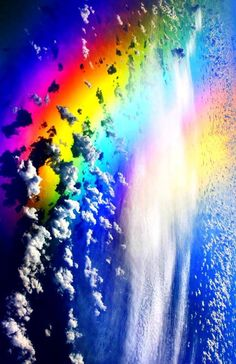 Colorful Rainbow, Clouds. Graphic Design.