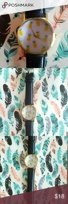 NWT! PINEAPPLE WATCH WITH LEATHER BAND NWT Black leather watch band with a stainless steel watch face. Covered with yellow pineapples!! Perfect for everyday wear! Accessories Watches