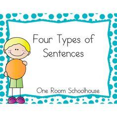 four types of sentences, free, flip book