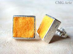 Pendientes de plata y fieltro naranja. / CMGArte - Artesanio