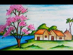 Learn How to draw scenery of spring season step by step ( easy drawing). Easy drawing tutorial for everyone. Nature Drawing For Kids, Easy Scenery Drawing, Landscape Drawing Easy, Landscape Pencil Drawings, Crayon Drawings, Art Drawings For Kids, Easy Drawings, Oil Pastel Paintings, Oil Pastel Art