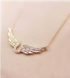 Lucky Horseshoe  Angel Wings! Gold and Crystal Angel Wings Chain Necklace #Lucky #Horseshoe #Gold #Crystal #Angel_Wings #Wings #Jewelry #Fashion #Accessories