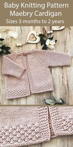 Knitting Pattern for Baby Maebry Cardigan Sizes 3 months to .-Knitting Pattern for Baby Maebry Cardigan Sizes 3 months to 2 years - Baby Cardigan Knitting Pattern Free, Baby Sweater Patterns, Baby Patterns, Cardigan Pattern, Baby Knitting Patterns Free Cardigan, Knitted Baby Cardigan, Knit Baby Sweaters, Knitted Baby Clothes, Scarf Patterns