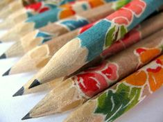 mini japanese paper-wrapped pencils - set of 10 - vintage wallpaper