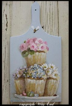 original painting on vintage breadboard, by witsEnd.  sold