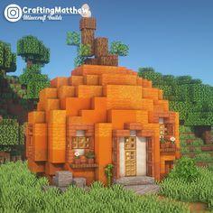 Cute little pumpkin house I built : Minecraftbuilds Minecraft House Plans, Minecraft Garden, Minecraft Farm, Minecraft Mansion, Cute Minecraft Houses, Minecraft Construction, Minecraft Blueprints, Minecraft Creations, Minecraft Memes