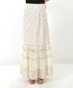 Another great find on #zulily! Blush & White Floral Maxi Skirt by Potter's Pot #zulilyfinds