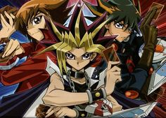 Yugi, Jaden, and Yusei from the three Yugioh series
