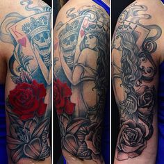 King and queen of hearts tattoo half sleeve. Black and grey shade tattoo with red. Pin up girl with skulls and roses.