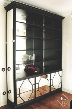 Зеркальный книжный шкаф