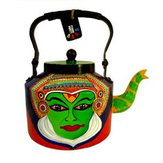 Kathakali dancer- Indian classical [Kerala ]dance hand-painted teapot/ kettle from India