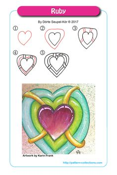 Ruby by Dörte Seupel-Kör Tangle Doodle, Tangle Art, Doodles Zentangles, Zen Doodle, Doodle Patterns, Zentangle Patterns, Mandala Pattern, Tangled Flower, Heart Illustration