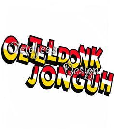 "Oeteldonks carnavals embleem ""Oeteldonk Jonguh"".  Uniek door Oeteljee ontworpen geborduurd embleem met de beruchte tekst ""Oeteldonk Jonguh"". Afmeting: 10 x 4 cm.  http://www.oeteljee.nl/a-36136919/oeteldonksche-carnavalsemblemen/geborduurd-embleem-oeteldonk-jonguh-rood-wit-geel/"