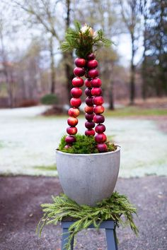 Welcome Christmas! Apples and concrete with branches of spruce Swedish Christmas, Noel Christmas, Scandinavian Christmas, Outdoor Christmas, Rustic Christmas, All Things Christmas, White Christmas, Christmas Crafts, Xmas