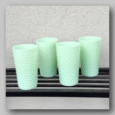 Milk Jadeite Glass Iced Tea Tumblers Multi Use Shabby Chic Hobnail Vases up for your construction and imagination. So gorgeous, contemopary milk-jadeite glas...